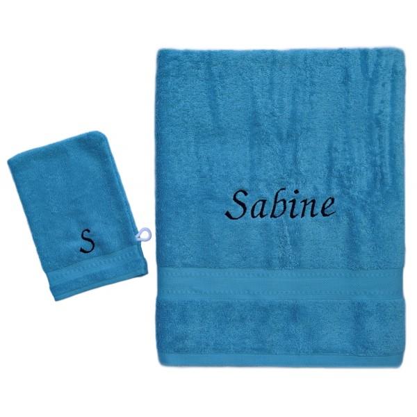 Handdoek met naam - Badhanddoek Jules Clarysse Talis turkoois