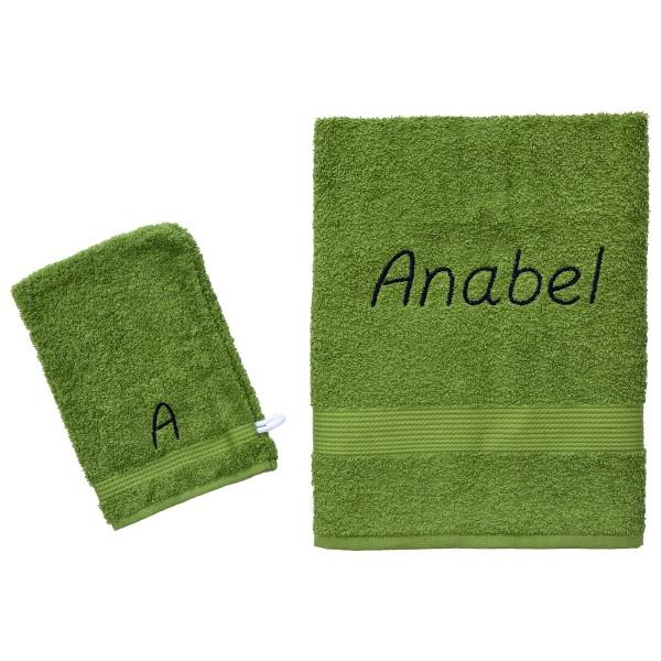 Handdoek met naam - Fairtrade groen