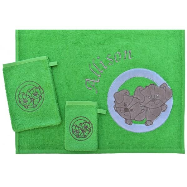 Handdoek met naam - Little Triki's groen