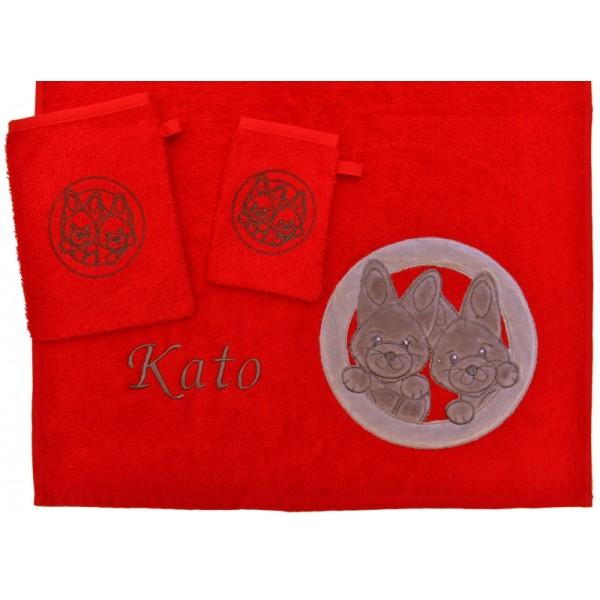 Handdoek met naam - Little Triki's rood