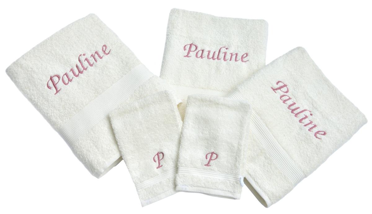 5-Delige handdoekenset Fairtrade met naam geborduurd